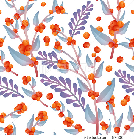 Vector Autumn Wild Flower Seamless Fabric or Wrapping Paper Pattern, Orange & Purple. 67600313
