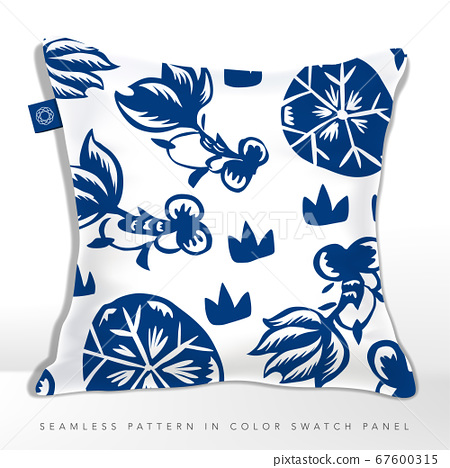 Vector Chinese Classic Blue Traditional Paper Cutting or Porcelain Seamless Fabric Pattern. Goldfish in Lotus Pond. 67600315