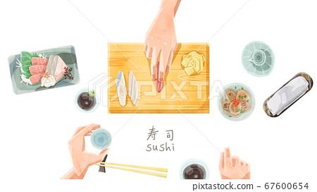 寿司店柜台水彩触摸插图 67600654