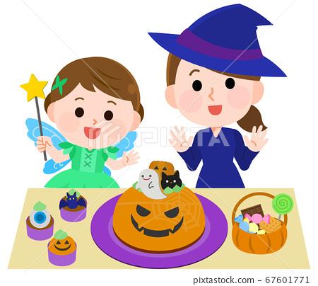 對可愛的糖果感到高興的孩子和母親的萬聖節插圖 67601771