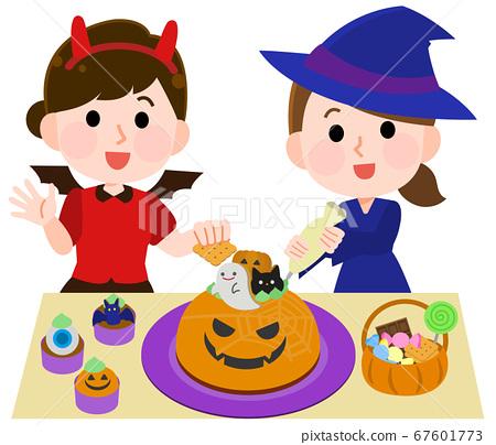 萬聖節女孩插畫製作可愛的糖果 67601773