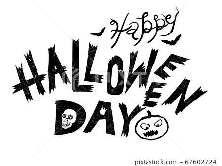 Happy Halloween Lettering Handwritten Halloween Stock Illustration 67602724 Pixta