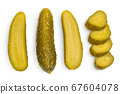 Marinated pickled cucumber isolated on white background with clipping path and full depth of field. Top view. Flat lay 67604078