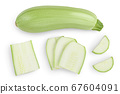 zucchini or marrow isolated on white background with clipping path and full depth of field. Top view. Flat lay 67604091