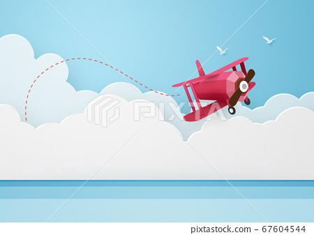 纸模型-天空-云-海上飞机 67604544