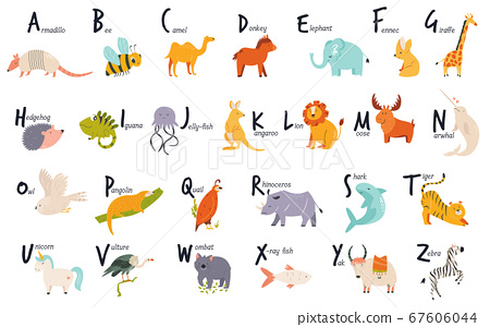 Colorful alphabet with cute funny animals. English 67606044