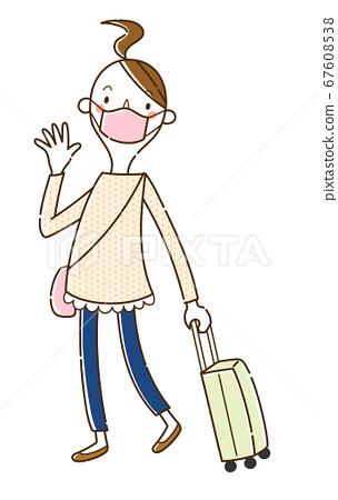마스크를 착용하고 여행을 떠나는 젊은 여성 67608538