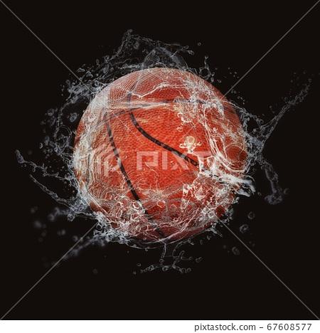 물보라를 올리는 농구 공 67608577