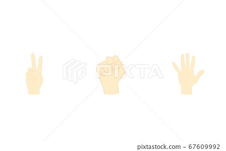 가위 바위 보 손 모양, 끈적 거리는 가위 파 벡터 일러스트 67609992