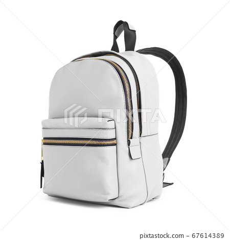 White Leather Mini Backpack Isolated on White Background. Side View Gray Satchel with Zippered Compartment. Travel Daypack. School Bag with Shoulder Straps and Haul Loop at the Top. Women's Trek Pack 67614389