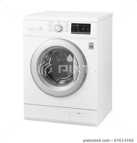 White Front Load Washing Machine Isolated on White Background.Side View of Modern Washer with Electronic Control Panel. Household and Domestic Appliance. Home Innovation 67614398