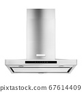Wall Mount Range Hood Isolated on White Background. Front View of Island Ventilation. Stainless Steel Cooking Canopy. Fume Extractor. Electric Chimney. Kitchen and Domestic Appliances 67614409