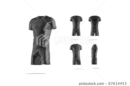 Blank black soccer uniform t-shirt and short mockup, different sides 67614453