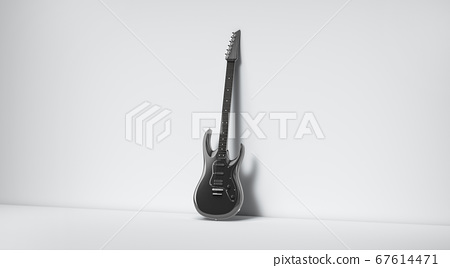 Blank black electric guitar mockup, stand near wall 67614471