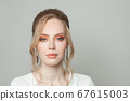 Beautiful young model woman face close up portrait 67615003