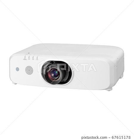 Multimedia Projector Isolated on White Background. Front Side View of Compact and Stylish Desktop Data Cinema and Video Home Theater Projector for TV Movies and Mobile Gaming with Projection Lens 67615178