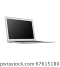 Laptop Isolated on White. Side View of Modern Slim Design Mobile Pc Netbook Air. Black Aluminum Material Portable Personal Notebook Computer with Keyboard USB Port and Blank LED Display Screen Monitor 67615180