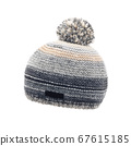 Gray Wool Ladies Ski Knit Hat with a Faux Fur Pompom Isolated on White Background. Outdoors Casual Winter Two Tone Hat Knitting Pattern with Pom Pom 67615185