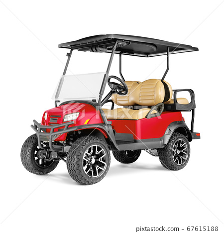 Electric Golf Cart Isolated on White Background. Front View of Four Passenger Red Car for a Golf Course. Advanced 4 Seater Off-Road EV Electric Vehicle. Personal Transport. 3D Rendering 67615188