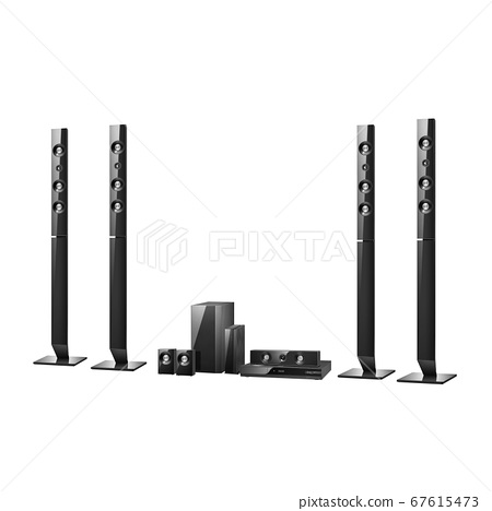 Home Cinema or Home Theatre Entertainment System Isolated on White. Floorstanding Data Surround Speakers. Acoustic Audio Sound Stereo System 5-Channel Output with Subwoofer. 5.1 Ch Theater Loudspeaker 67615473
