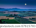 Scenic Tuscany landscape farmhouse in moonlight, Italy 67615783