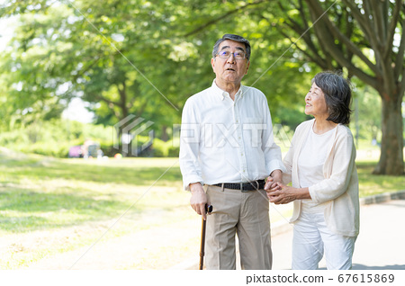 Senior couple walking in the park and rehabilitating 67615869