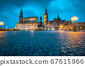 Dresden city center with dramatic sky at twilight, Saxony, Germany 67615966