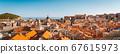 Dubrovnik rooftops panorama at sunset, Dalmatia, Croatia 67615973