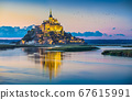 Mont Saint-Michel in twilight at dusk, Normandy, France 67615991