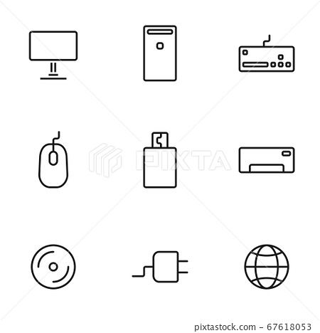 Set of computers line icons contains laptop, 67618053