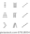Set of staircase line icons contains steps stair, 67618054