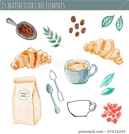 水彩觸摸咖啡館/咖啡材料套裝01 67618265