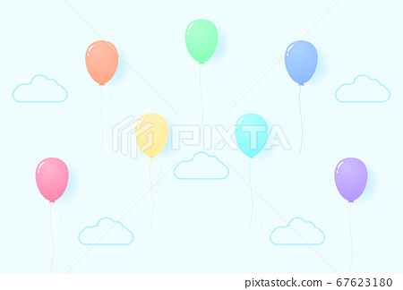 colorful pastel color balloons flying in the sky, rainbow color pattern, paper art style 67623180