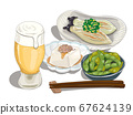 Beer and summer snacks set illustration like drawing with a millipen and marker 67624139