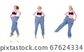 Woman with large jeans in dieting concept 67624334