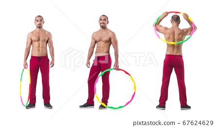 Man doing excecises with hula hoop 67624629