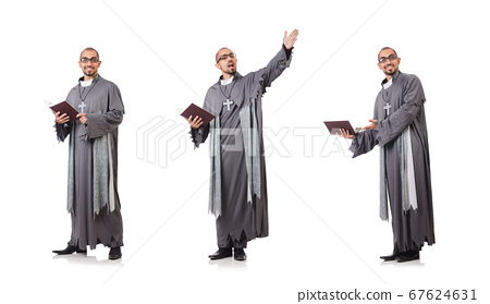 Young priest isolated on the white 67624631