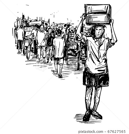 Drawing of the people are walking at local market in India  67627565