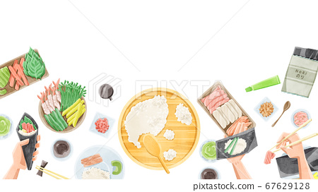 Hand-rolled sushi home party illustration 67629128