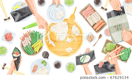 Hand-rolled sushi home party illustration 67629134