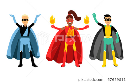 Man and Woman Characters in Superhero Costumes Standing Vector Illustration Set 67629811