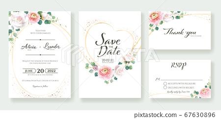Pink rose wedding invitation card. 청첩장 67630896