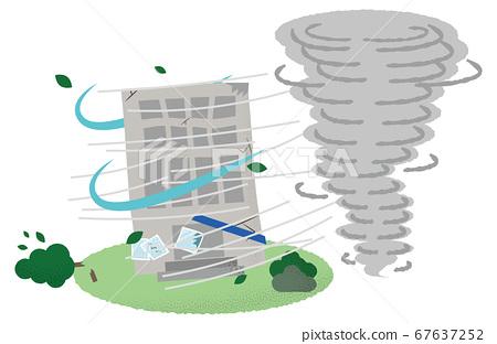 矢量圖的建築遭受龍捲風 67637252