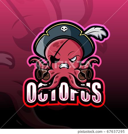 Pirate octopus mascot esport logo design 67637295