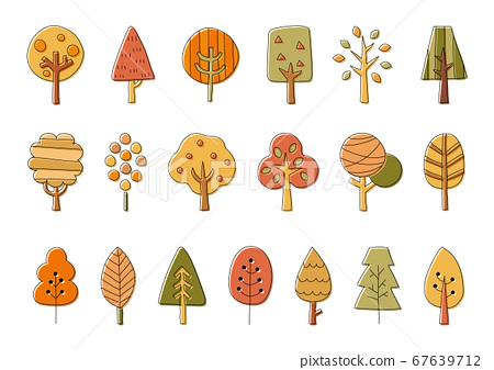 斯堪的納維亞秋天一棵樹插圖集/時尚/可愛/森林 67639712