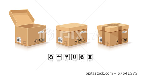 Brown Box Packaging, open and close with symbol collections isolated  67641575