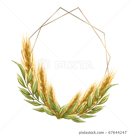 Golden frame with floral arrangement of wheat on white background. Baking logo 67644247