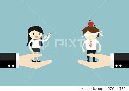 Business concept, Business woman shooting an arrow 67644573