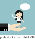 Business woman is standing on a big hand and lying 67644596