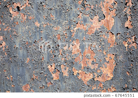 Background texture of scratched rusted steel with peeling paint 67645551